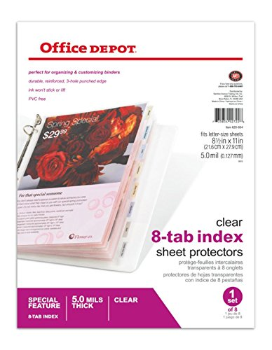 Office Depot Tabbed Sheet Protectors, 8-Tab, Clear, 620954 - Tabbed Protectors Sheet