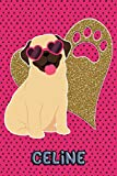 Pug Life Celine: College Ruled | Composition Book | Diary | Lined Journal | Green