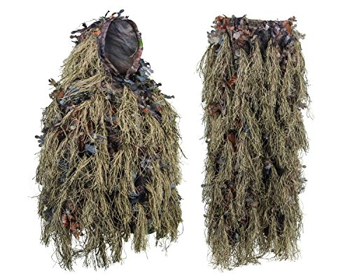 North Mountain Gear Hybrid Woodland Camouflage Ghillie Hunting Suit Light Weight (WOODLAND BROWN, XL/XXL) (Sniper Ghillie Large Pants)