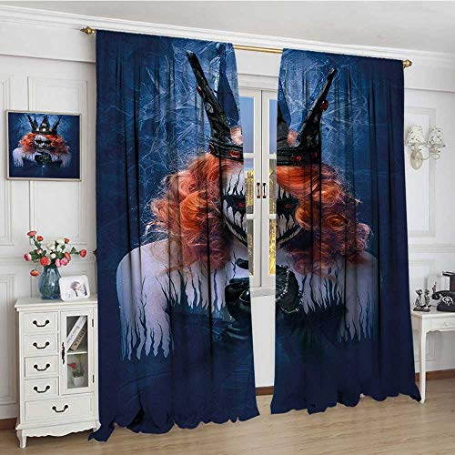 smallbeefly Queen Blackout Window Curtain Queen of Death Scary Body Art Halloween Evil Face Bizarre Make Up Zombie Customized Curtains 72
