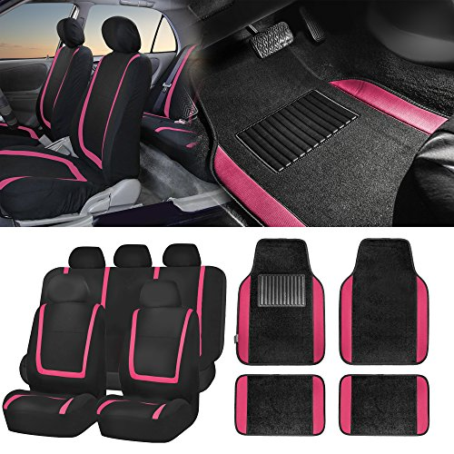 2010 Womens Element - FH Group FH-FB032115 Unique Flat Cloth Seat Covers with F14407 Premium Carpet Floor Mats, Pink/Color- Fit Most Car, Truck, SUV, or Van