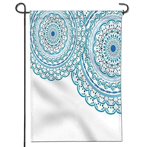 Jiahonghome Nice Design Hello Summer Elegant Card with lace Ornament and Place for Text on with Seamless Wedding Invitation Mandala Blue Garden Flag with Garden Flag Stopper Double Sided14 x 21