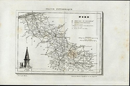 Nord Denain Obelisk Monument Lille 1835 scarce antique France map (Monument Obelisk)
