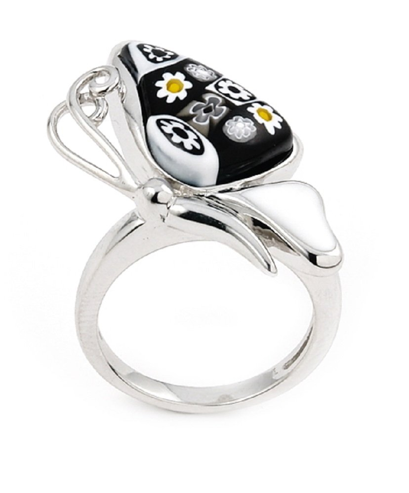 Black And White Murano Millefiori Glass Butterfly Ring 925 Sterling Silver Size 8