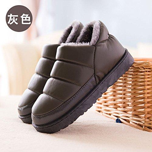 Fankou Inverno in bianco e nero con cotone pantofole home home e al di fuori di uomini e donne giovane caldo antiscivolo in cotone impermeabile scarpe, 37-38 (36-37), 8508 grigio
