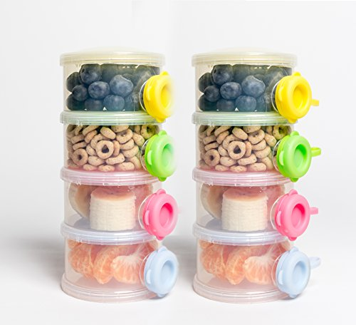 (OceanBaby 4 Twist Lock Stackable Container Non Spill Baby Formula Container - 2 Pack colors may vary)
