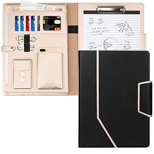 Toplive Padfolio Portfolio Case, Conference Folder Executive Business Padfolio with Document Sleeve,Letter/A4 Size Clipboard,Business Card Holders, Portfolio Padfolio for Women/Men,Black