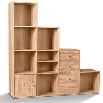 Meuble De Rangement 12 Cases.Idmarket Meuble De Rangement Cube 12 Cases Bois Facon