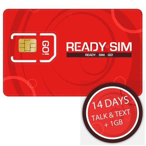 Ready SIM - Tarjeta SIM (para hablar, enviar mensajes y datos sin límite durante 14 días, 1GB, 4G)
