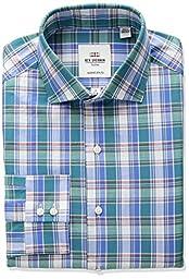 Ben Sherman Men\'s Kings Fit Slim Slub Madras Dress Shirt, Multi Color, 17.5\