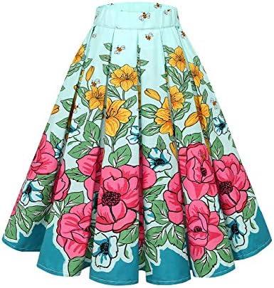 Bridesmay Jupe plissée Femme Vintage Années 50 Pin Up Floral Imprimé à Fleurs Chic Longueur au Genou avec Poches sur Les Côtés