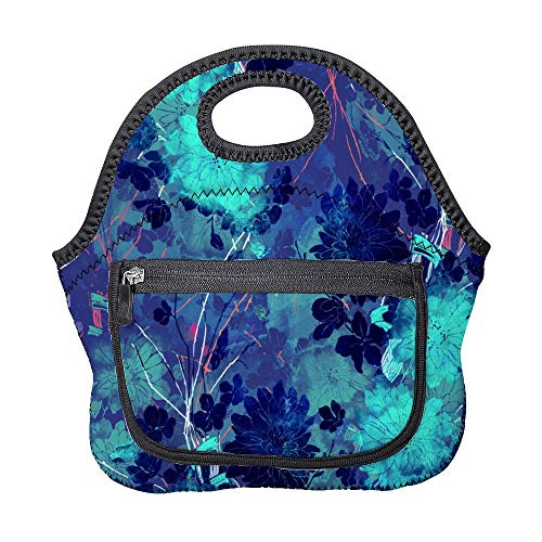 Abstract Geometry Insulated Neoprene Lunch Bag Tote Handbag lunchbox Food Container With Pocket For Kids Adults