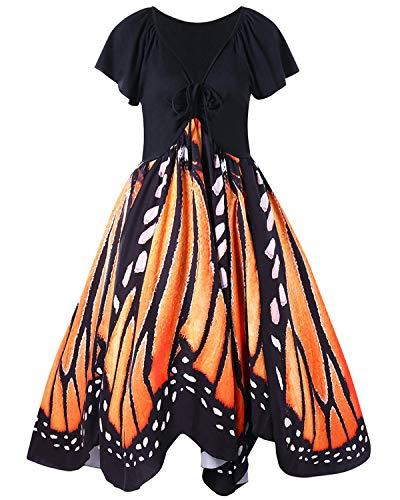 GAMISS Women's Vintage Butterfly Print Short Sleeves A-Line Plus Size Dress XL-5XL(Orange1,2XL) -
