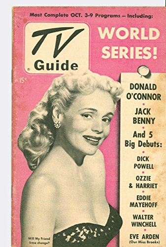 1952 TV Guide October 3 Marie Wilson of My Friend Irma - 1952 World Series (48 pg) - NY Metro Edition NO MAILING LABEL Very Good (3 out of 10) Well Used by Mickeys Pubs