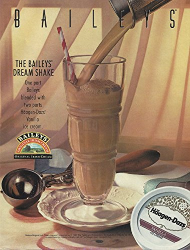 MAGAZINE AD For 1991 Baileys Irish Cream Dream Shake With Haagen Dazs