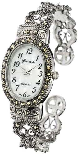 New Watches Geneva Platinum Marcasite Oval Face Women's Watch