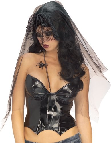 Funeral Widow Costume (Rubie's Costume Long Gothic Widow Wig, Black, One Size)