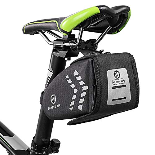 FlexDin Bike Saddle Bag Waterproof Bicycle Seat Storage Bags Cycling 1.4L Tools Pocket Accessories with LED Taillight Mesh Pocket & Reflective - 1.4 Saddle