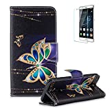 Funyye Magnetic Flip Cover for Huawei Mate 20 Lite,Premium Stylish Golden Butterfly Pattern Stand Card Holder Slots Cover Wallet PU Leather Case with Soft Silicone for Huawei Mate 20 Lite + 1 x Free Screen Protector