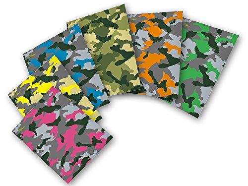 New Generation - Camouflage - 2 Pocket Folder / Portfolio Heavy Duty 3 Hole Punch - 6 Folders per Pack Assorted 6 Fashion Designs UV Glossy Laminated