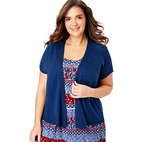 Woman Within Women's Plus Size Open Front Short Sleeve Pointelle Cardigan Sweater - Evening Blue, 4X ()