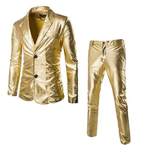 buildup Men Vogue Blazer Simplicity Leisure Shiny Party Wedding Business Suit Golden S