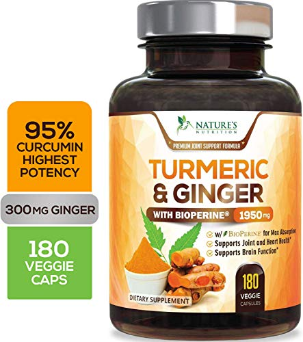 Turmeric Curcumin Highest Potency 95% with Ginger 1950mg with Bioperine Black Pepper for Best Absorption, Made in USA, Best Vegan Joint Pain Relief, Turmeric Pills by Natures Nutrition - 180 Capsules