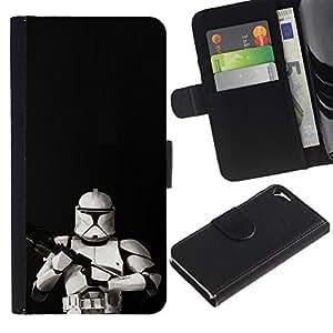 LECELL--Cuero de la tarjeta la carpeta del tirón Smartphone Slots Protección Holder For Apple Iphone 5 / 5S -- Tormenta Tropa Frente --