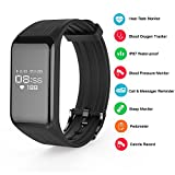 TUFEN Fitness Tracker Blood Oxygen & Pressure Saturation Armband Heart Rate Monitor Activity Tracker Pedometer Steps Counter Calories Track Smart Notification Bluetooth Bracelet (Black)