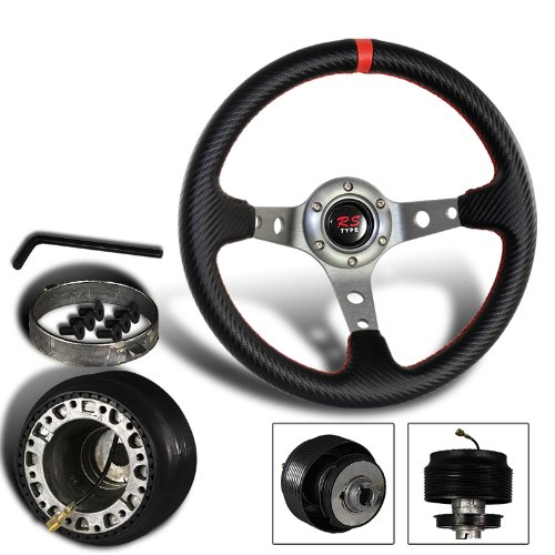 320mm 6 Hole Carbon Fiber Style PVC Leather Red Stitching Steering Wheel + Nissan Hub Adapter (Hardbody Carbon)