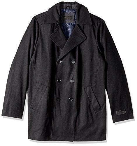 Ike Behar Men's Big and Tall Abrams Pea Coat, Black, 4X
