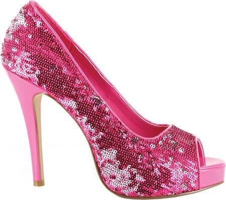 Scarpe Ellie E-415-flamingo Con 4 Talloni E Decollette Aperte Glitterate. Rosa