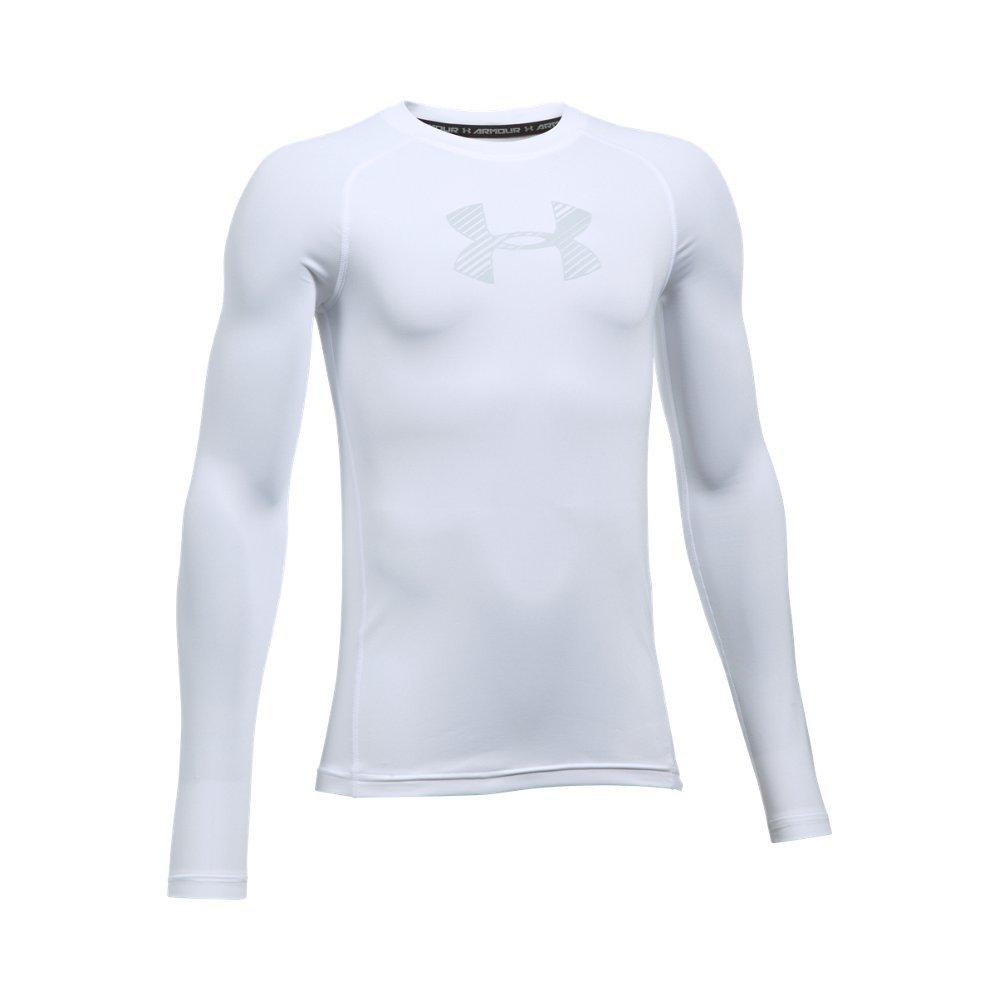 Under Armour Boys' HeatGear Armour Long Sleeve, White /Overcast Gray, Youth Small