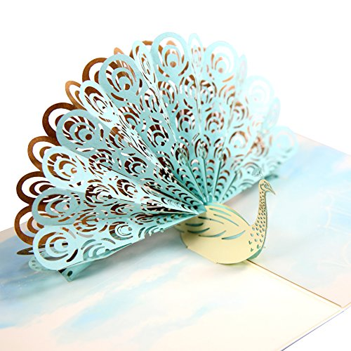 - HeartMoon Peacock Pop up Mother's Day Card for Kids and Envelopes Laser Cut 3D Pop up Love Thank you Holiday Card Love Anniversary Wedding