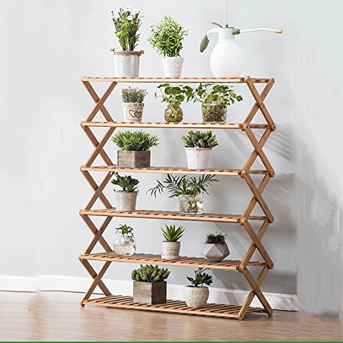 Foldable Flower Rack Pastoral Wooden Floor Stand Living Room Balcony Shelf,Sixlayers(50cm)