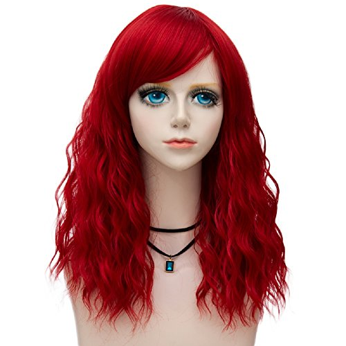 Probeauty Raddict Collection 45cm Lolita Shoulder Length Curly Pastel Ombre Hair Synthetic Cosplay Wig+Cap (Red F9)