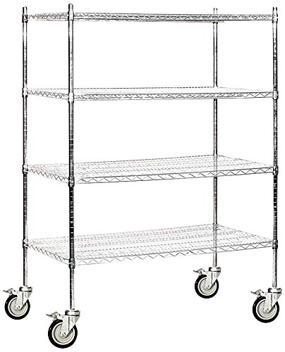 Salsbury Industries Mobile Wire Shelving Unit, 48-Inch Wide by 69-Inch High by 24-Inch Deep, (Heavy Duty Mobile Shelving Unit)