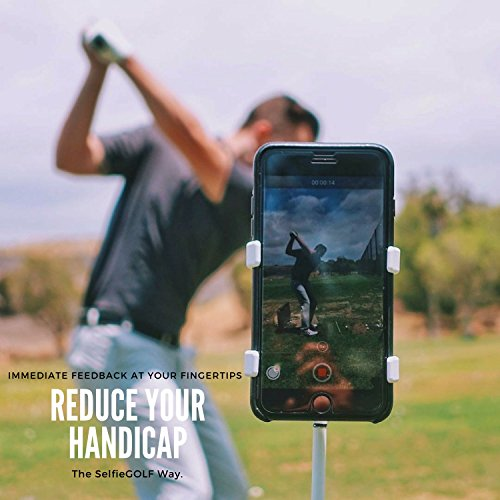 SelfieGolf Record Golf Swing - Cell Phone Clip Holder and Training Aid - Golf Accessories | Winner of The PGA Best Product | Works with Any Smart Phone, Quick Set Up (Blue/White) ()