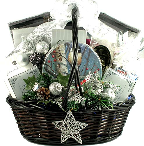 Starry Night, Elegant Holiday Gift Basket With Holiday Favorites: Cookies, Chocolates, Candies, Cakes, Gourmet Popcorn and More, (XL)