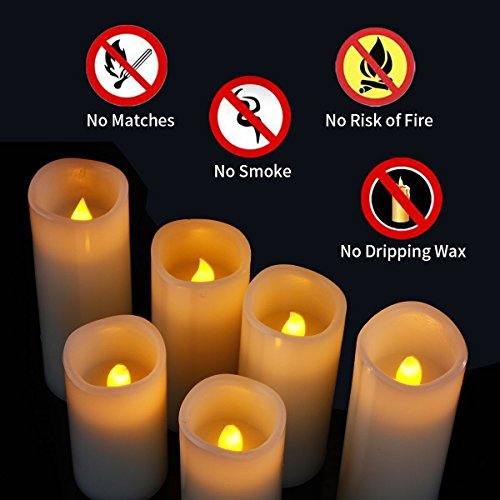 Enpornk Set of 12 Flameless Candles Battery Operated LED Pillar Real Wax Flickering Electric Unscented Candles with Remote Control Cycling 24 Hours Timer, Ivory Color by Enpornk (Image #5)