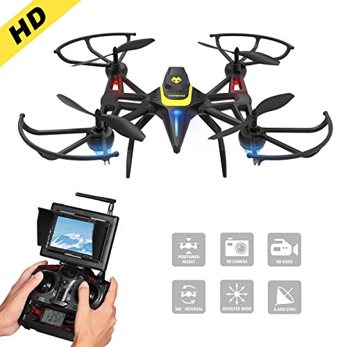 Drone with Camera & Screen, Tomzon New Generation F185DH FPV RC Quadcopter with Altitude Hold Function, Headless Mode, 2MP HD Camera and 5.8Ghz FPV LCD Screen Monitor - Black by Tomzon
