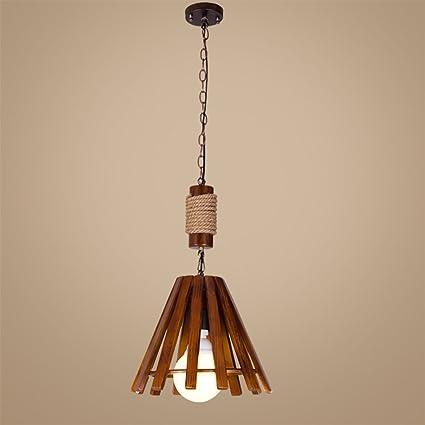 y.s.y lámpara retro diseño metal techo madera maciza y ...