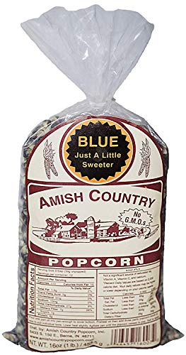 Amish Country Popcorn - Blue Popcorn (1 Pound Bag) - Old Fashioned, Non GMO, and Gluten Free - with Recipe Guide
