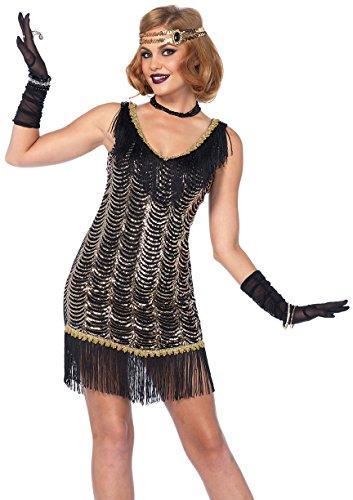 Charleston Girl Halloween Costume (Leg Avenue Women's Charleston Flapper Dress 20s Costume, Black/Gold,)