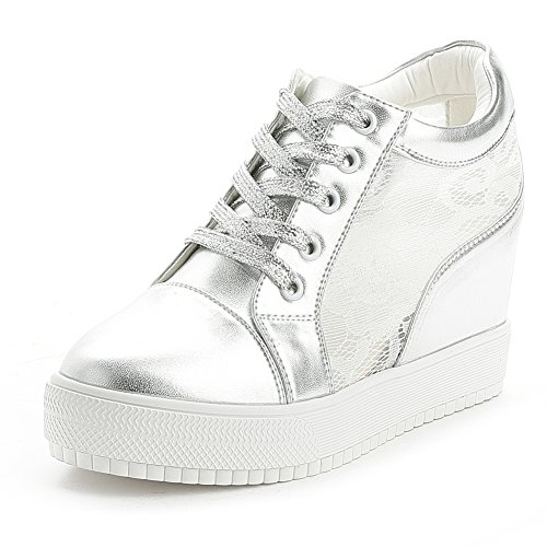 GIY Women Fashion Laces Low Top Lace-up Wedge Sneakers Platform Increased Height Casual Sports ()