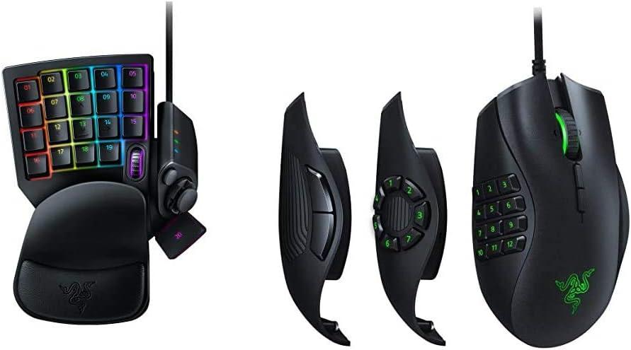 Razer Tartarus V2 - Gaming Keypad con Swtich Mecha-Membrane, Teclado para Juegos + Naga Trinity - Ratón para Juegos MOBA/MMO (3 Placas Laterales Intercambiables