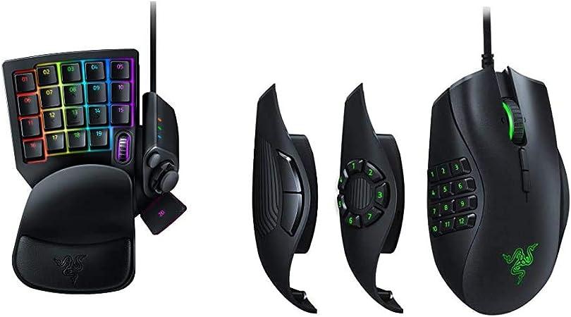 Razer Tartarus V2 - Gaming Keypad con Swtich Mecha-Membrane, Teclado para Juegos + Naga Trinity - Ratón para Juegos MOBA/MMO (3 Placas Laterales ...