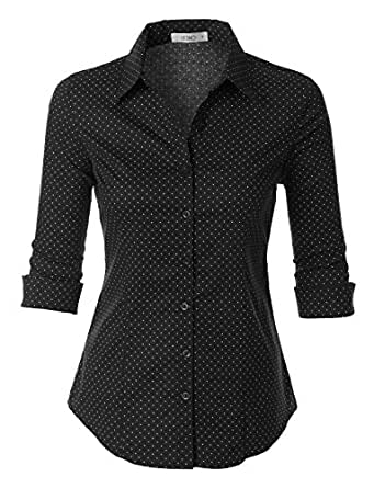 LE3NO Womens Polka Dots Button Down 3/4 Sleeve Tailored Shirt