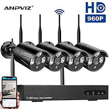 Image of 8CH Wireless IP Security Camera System NVR Kits, 1080P NVR 4pcs 960P WiFi Outdoor Security Bullet Camera, Motion Detection IP66 Waterproof, HDD Not Included (Black) Surveillance DVR Kits