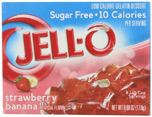 JELL-O Strawberry Banana Sugar Free Gelatin Dessert Mix (0.60 oz Boxes, Pack of 24)